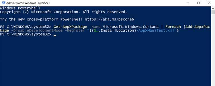 Fix Cortana by Rebuilding
